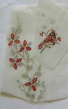 HOLIDAY CHRISTMAS RED FLOWERS RHINESTONE IRON ON APPLIQUE / HOT FIX TRANSFER