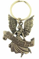 Pewter Guardian Angel with Banner Never Driver Faster Key Chain, 2 1/4 Inch