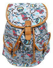 "GREY OWL Print Women's Canvas Backpack Leather Trim Drawstring Padded Strap 16""H"