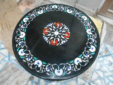 black Marble center 3'x3' coffee Dining  Table Top Inlay Mosaic Marquetry side