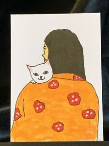Original ACEO Cat Mom Cuddles Medium Black Ink Marker on Paper Signed by Artist
