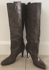 Retro Khaki Leather MOLLINI Long Knee High Boots Size 40