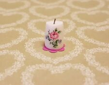 Pretty Floral Candle handmade 1:12th scale dollshouse miniature ornament vintage