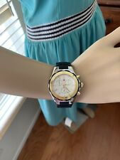 NWT Michele Jelly Bean Large Tahitian Black Gold & Silver Watch MWW12F000057