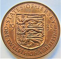 1935 Jersey George V, 1/12 Shilling, Grading UNCIRCULATED.