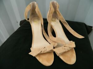 Vince Camuto nude Ankle Tie Strap Suede Heels Size 8M 38
