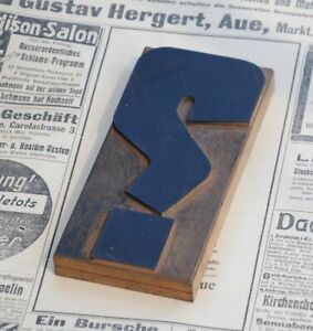 "huge ""?"" QUESTION MARK letterpress wooden printing block Art Nouveau wood type.."