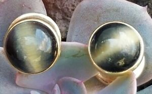 14k Gold Cufflinks Genuine Cat's Eye Chrysobery Vintage Men's Sulkal 8.9g