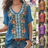 Women Short Sleeve Loose T Shirts Boho Floral Ladies Summer Casual Blouse Tops