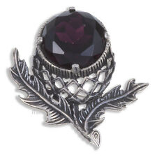 Miracle Large Pewter Simulated Purple Amethyst Crystal Scottish Thistle Brooch