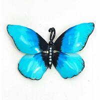 Vintage X-Large Butterfly Brooch Turquoise Blue Enamel Rhinestone 1960s Pin
