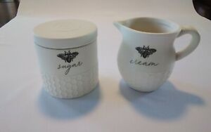 Heartland Hive 3 Piece  Cream And Sugar Set  White And Black