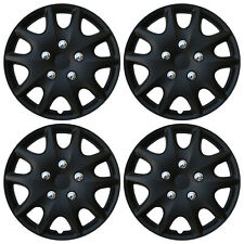 "4 PC Set Hub Caps MATTE BLACK 14"" Inch Rim Wheel Skin Hubcaps Cover Center Cap"