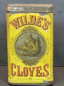 Antique Wilde's Cloves Tin With Boars Image Advertising