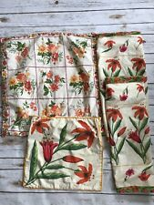 APRIL CORNELL Pink Orange Floral Cotton Euro Sham Covers Set 4 Shabby Chic Lily