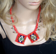 African Zulu beaded jewellery red love letters necklace hand made statement