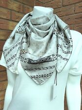 JIMMY CHOO SILVER GREY SILK CHAIN & STAR PRINT SQUARE SCARF