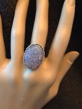 Gorgeous Large Oval Silvery Blue Simulate Opal In Sterling Silver Ring Size 9.25