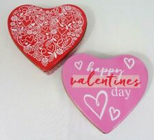 """Heart Shape Metal tin Containers Box Lot of 2 (6"""" x 6"""" x 1.5"""") NEW"""