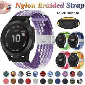 Braided Nylon Solo Loop Band Strap Easy Fit For Garmin Fenix 6 Pro 5 Plus 3 HR