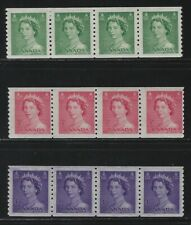 CANADA - #331-#333 - QUEEN ELIZABETH II KARSH ISSUE COIL STRIPS OF 4 MNH