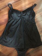 MOTHERHOOD MATERNITY SWIMSUIT 1 piece BLACK skirt dress NICE COND medium 8 10