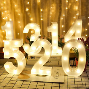 Alphabet 0-9 Numbers Letter LED Light up Birthday Party Gift Decorate white