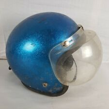 Vintage American Safety Buco Motorcycle Helmet Display Chopper Blue Flake Bubble