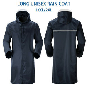 Womens Mens Waterproof Raincoat Long Trench Unisex Rain Coat Jacket Adults