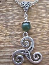 Triskele Pendant Celtic Triquetra Moss Agate Gemstone Bead Pagan Symbol