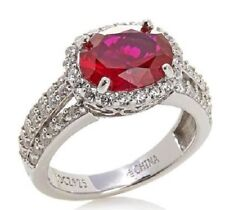 Jean Dousset 3.87ct Absolute and Created Ruby Frame Sterling Silver Ring Size 7