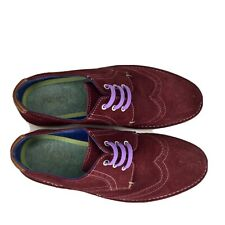 Ted Baker Men Burgundy Jamfro Suede Brogue Shoe Colourful Size 41 7.5