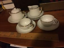 10 Pc Vintage TEA cups SET White Gold Trim Hand Painted Mini Germany