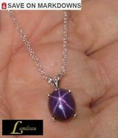 6 ct Purple Star Ruby Silver Pendant & Necklace