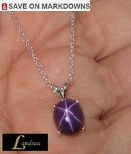 6 ct LC Purple Star Ruby Silver Pendant & Necklace