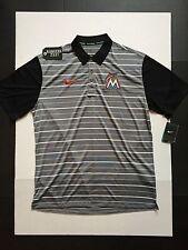 Nike Miami Marlins Grey Stripe Team Polo Shirts Mens Size M