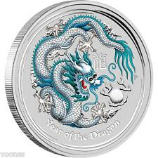 Perth Mint Australia 2012 Dragon White Colored 1 oz .999 Silver Coin