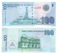 NICARAGUA 100 Cordobas Banknote (2007) P-204b A/1 Prefix Paper Money UNC