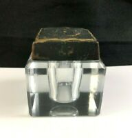 """🔷 Antique 19th Century Square Cut Glass 2 1/4"""" Inkwell w/ Leather Lid"""