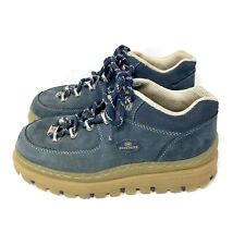 Vtg Skechers Jammers Platform Chunky Shoes Size 8.5 Ankle Htf Blue Suede 90s Y2K