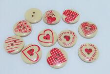 10pz bottoni tondo 2 fori con cuore  in legno naturale  20x4mm colore avorio