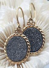 Gorgeous 14 Karat Yellow Gold Grey Druzy Oval Dangle Earrings.