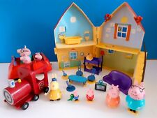 Bundle of Peppa pig Toys Folding House with Furniture ,Train, ,Car, Figures