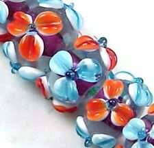 Lampwork Glass Rondelle orange blue Flower Beads (12)