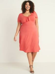 OLD NAVY WOMENS Fit & Flare Jersey Knotted-Tie Plus-Size CORAL DRESS SIZE 4X NWT