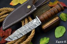 Custom Damascus Steel Hunting Knife Handmade With Walnut Handle (Z422-E)