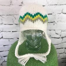 Burton Unisex One Sz Hat Green Cheveron Striped Trapper Beanie Warm Winter Cap