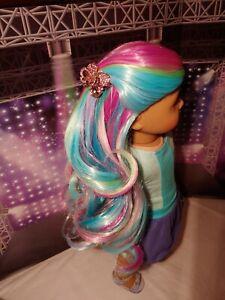 "#2 WIG NEW Fairy Vibrant Rainbow - EDD OOAK Designer 11"" for American Girl Doll"