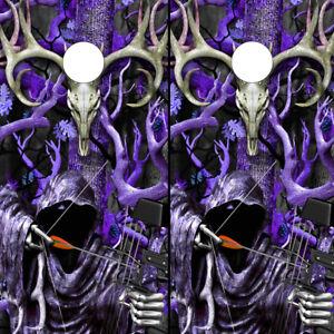 Cornhole Board Wraps Vinyl Camo Decals Buck Skulls Grim Reaper PURPLE 2 Sheets!