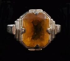 Vintage Faceted AMBER OVAL STONE Silvertone Fashion Ring Size 5.5 T3